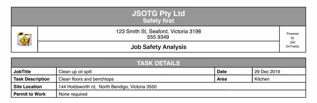 Risk Matrix Tool header company task details