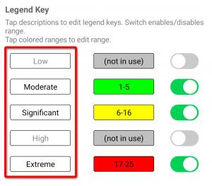 Risk matrix editor legend key descriptions