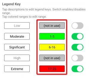 Risk matrix editor legend key range dialog