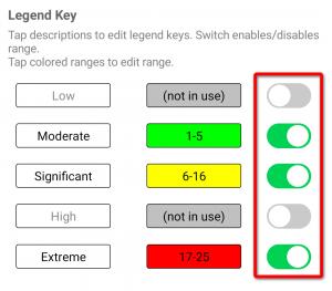 Risk matrix editor legend key selection